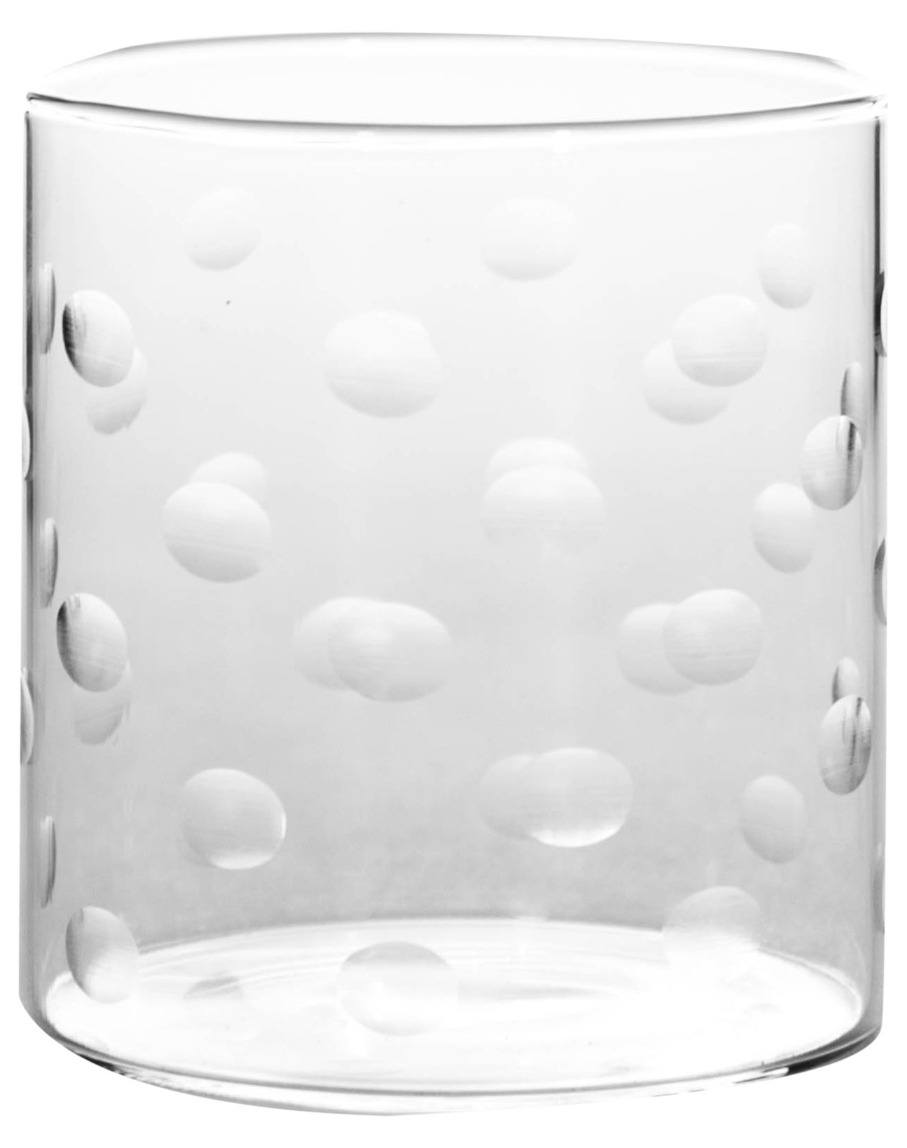 Borosil VDPT305 Vision Deco Polka Tumbler [Set of 6] Clear Lightweight & Durable Drinkware, Odor Resistant, Dishwasher Safe - For Water, Juice, Beer, Wine, and Cocktails, | | 10 Ounce Cups, Glass