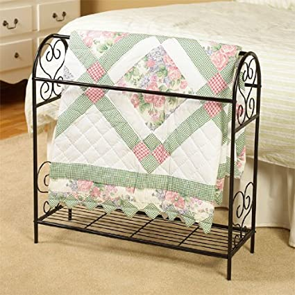 Amazon.com: SCROLL DESIGN METAL QUILT RACK WITH SHELF - BLACK ... : metal quilt rack - Adamdwight.com