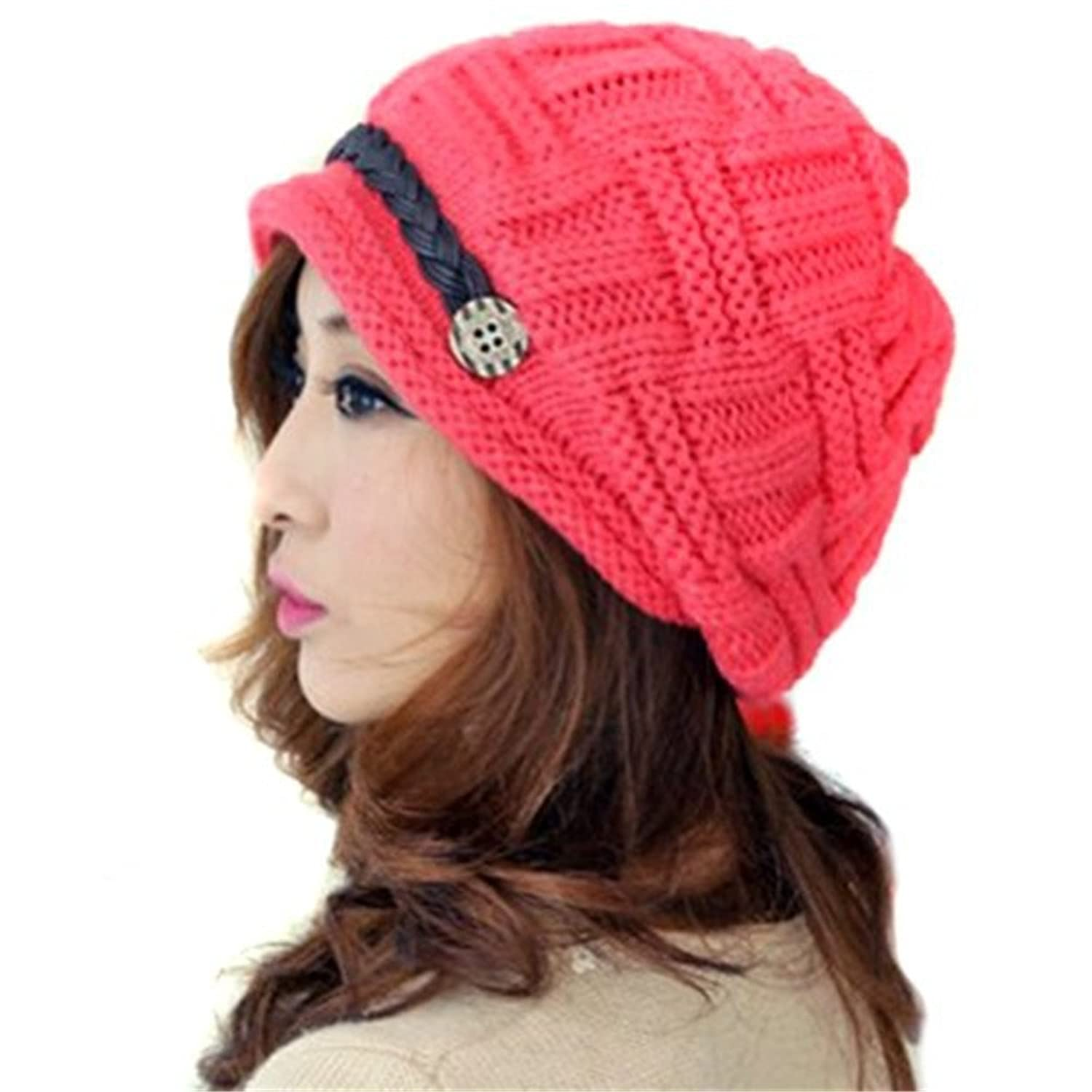 Haodasi Crochet Hat Fashion Mode Women's Winter Warm Knit Beanie Strickmutze Knit Hat Wool Snow Ski Caps