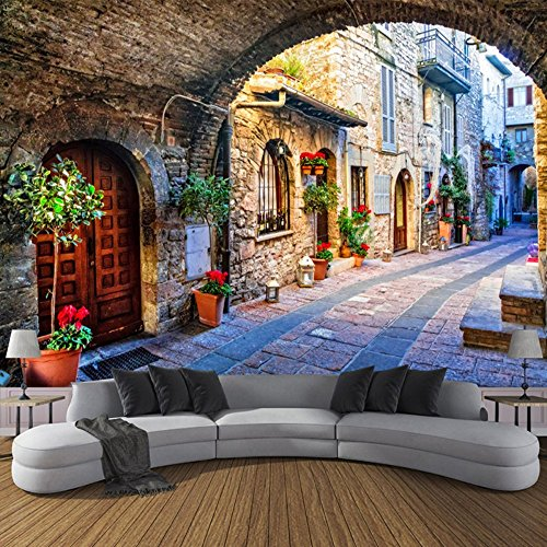 Colomac Wall Mural 3D European-Style Quiet Italian Town Street Scene Mural Suitable for Bedroom Study Cafe Home Decor Living Room Restaurant Wallpaper 196.8 Inch x 78.8 Inch from colomac