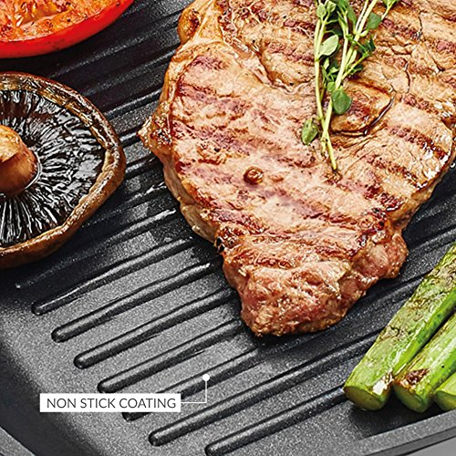 -[ Andrew James Deluxe Griddle Pan, Use on All Hobs Including Induction, Non-Stick, Flat 28cm Cast
