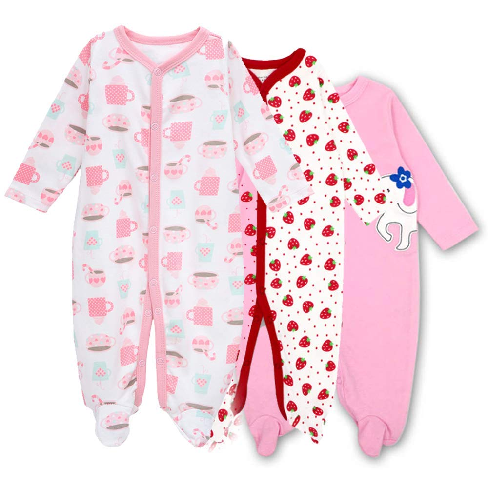 Hisharry Baby Footed Boy Pajamas Girls 3-Pack Fit Footed Cotton Romper Footed Sleep and Play