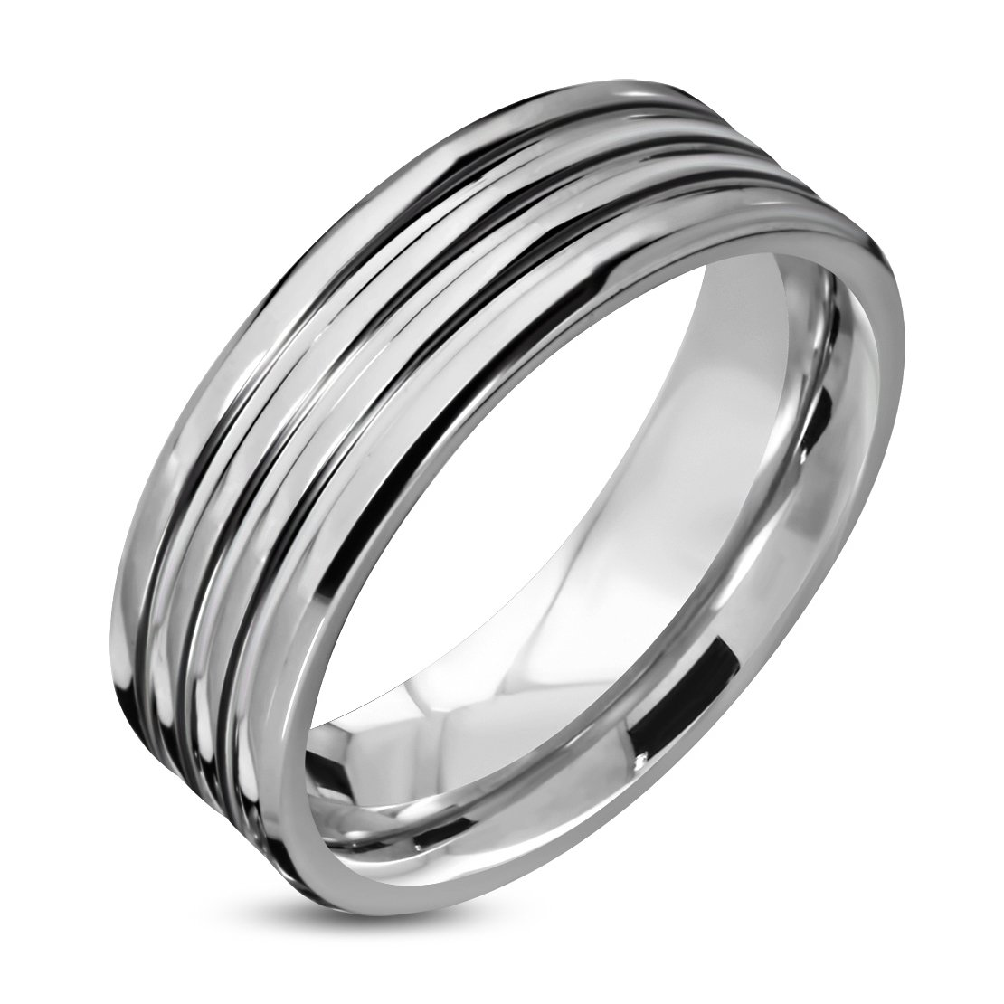 Tungsten Carbide Multi Grooved Comfort Fit Flat Band Ring