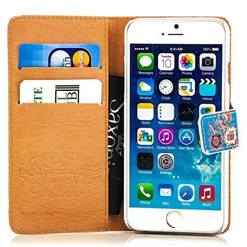 Saxonia Tasche iPhone 6S / 6 Flip Case Schutzhülle Handytasche mit Kartenfach Blumen Muster, Design Blau