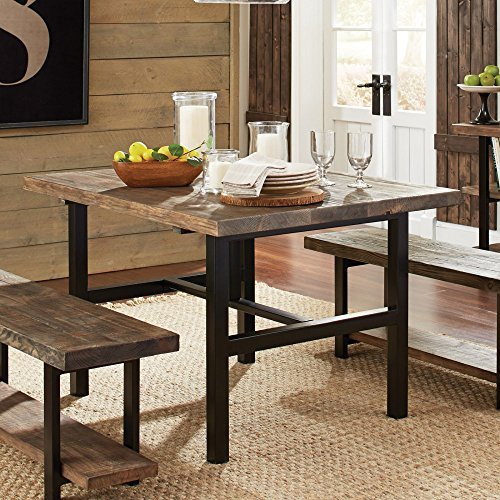 Pomona Metal and Reclaimed Wood Dining Table - Recycled Wood Table