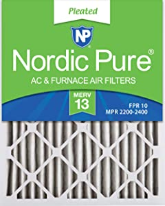 Nordic Pure 20x25x2 MERV 13 Pleated AC Furnace Air Filters 3 Pack, 3 PACK, 3 PACK