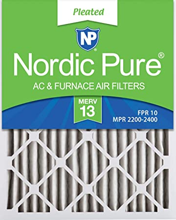 Nordic Pure 13x25x1 MERV 13 Pleated AC Furnace Air Filters 2 Pack