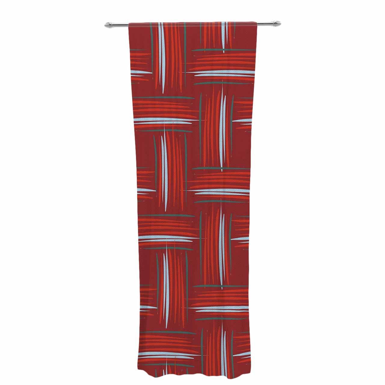 30 x 84 Sheer Curtains Kess InHouse Empire Ruhl Rust Crosshatch Red Blue Digital Decorative Set