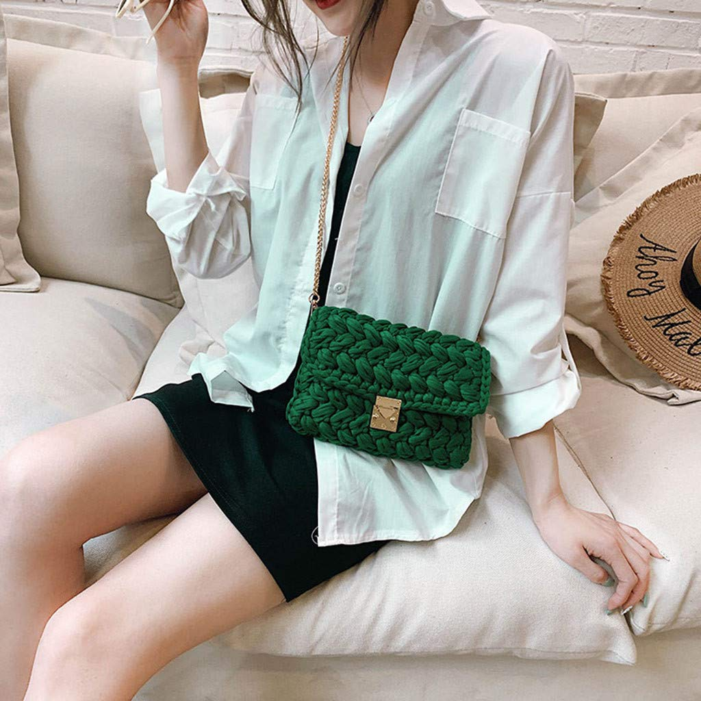 Ladies Travel Weekender Shoulder Bag Women Bag Woven Colorful Bag Texture Wild Explosions Handbags Fashion Messenger by Chiccc (Image #2)