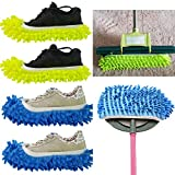 #10: 4PCS (2 Pairs) Mopping Slipper Shoes Cover , SINYUM Soft Washable Reusable Microfiber Foot Socks Floor Dust Dirt Hair Cleaner for Bathroom Office Kitchen House Polishing Cleaning (2 Pairs)