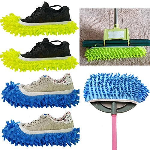 4PCS (2 Pairs) Mopping Slipper Shoes Cover , SINYUM Soft Washable Reusable Microfiber Foot Socks Floor Dust Dirt Hair Cleaner for Bathroom Office Kitchen House Polishing Cleaning (2 Pairs)