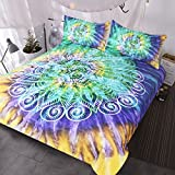 Green and Purple Duvet Set BlessLiving Lotus Flower Tie Dye Bedding 3 Piece Bohemian Mandala Duvet Cover Yellow Purple Green Tye Dye Bedding Sets (Full)