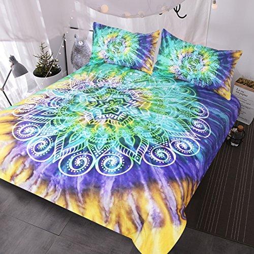 BlessLiving Lotus Flower Tie Dye Bedding 3 Piece Bohemian Mandala Duvet Cover Yellow Purple Green Tye Dye Bedding Sets (Queen) (Bright Yellow Comforter)