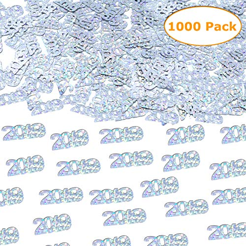 2019 Silver Confetti - Graduation Party Supplies Decoration | Anniversary, Birthday and Variety of Events | Pack of 1000/2.6 Oz Graduation Table Decoration -
