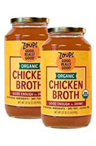 Organic Chicken Broth by Zoup! – Gluten Free, Non GMO, Fat Free Organic Chicken Broth - Great for Stock, Bouillon, Soup Base or to Drink, 2-pack of 32 oz Jars