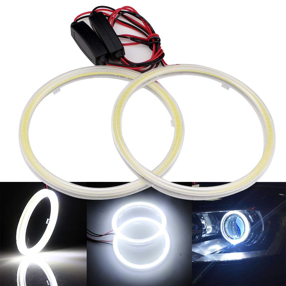 Blue 70MM 60SMD COB LED Headlight Angel Eyes Bulb Halo Ring Lamp Light with the reflector cover constant current 9-30V Grandview 1 Pair 2pcs