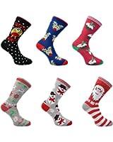 6 Pairs of Mens or Ladies Festive Christmas Socks - Christmas Novelty Xmas Socks - Ideal Stocking Filler