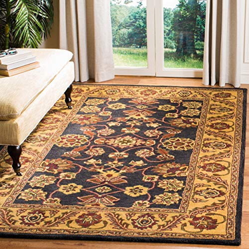 Safavieh Golden Jaipur Collection GJ250D Handmade Black and Gold Premium Wool Area Rug (7'6