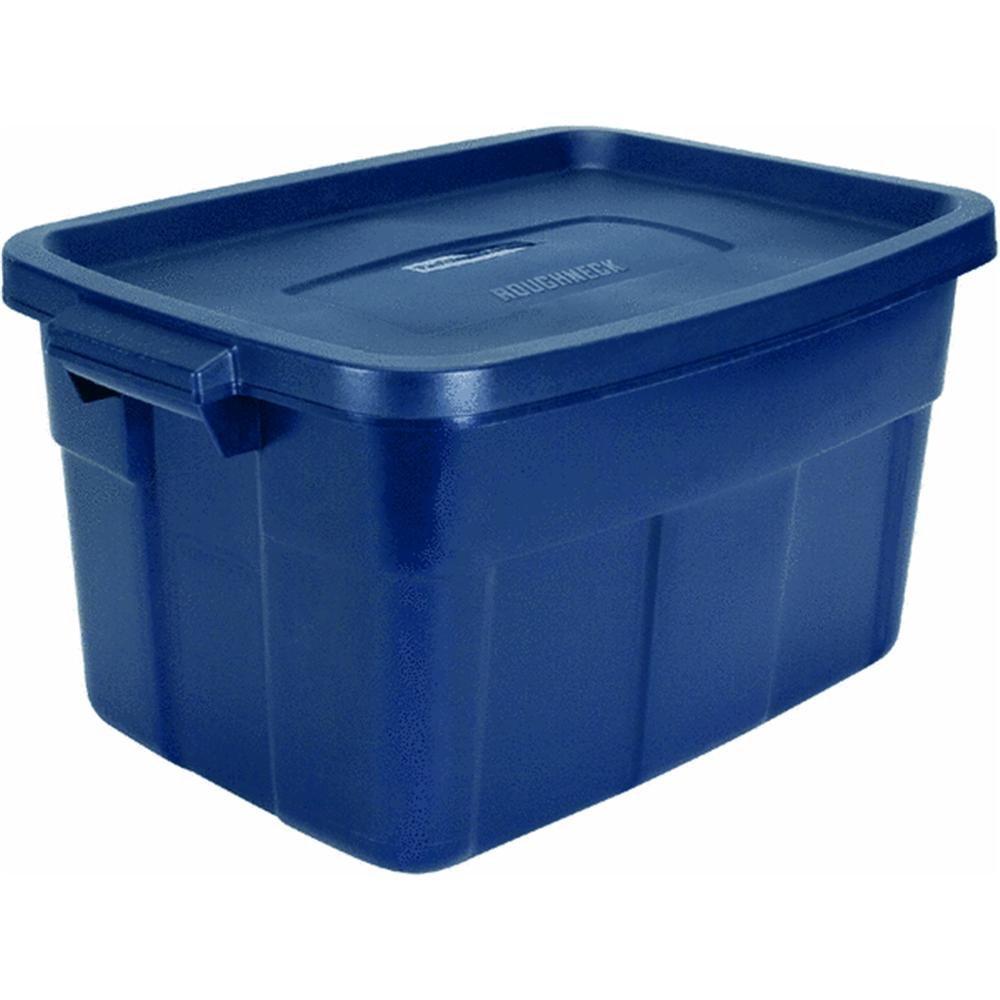 Rubbermaid Roughneck Tote Storage Container, Dark Indigo Metallic, 14-gallon (FG2212CPDIM)