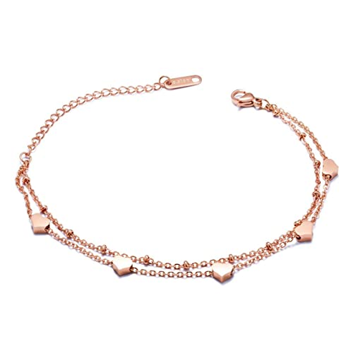 5569e676986 Image Unavailable. Image not available for. Color: DIDa Heart Bracelet Rose  Gold Bracelet for Women Adjustable Bracelet Bangle