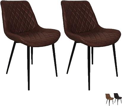 Nimara 2er Set Esszimmerstühle mit Microfaser bezug | Stuhl