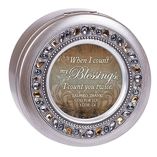 Count Blessings You Twice Brushed Pewter Jewelry Music Box Plays Amazing - Music Pewter Box