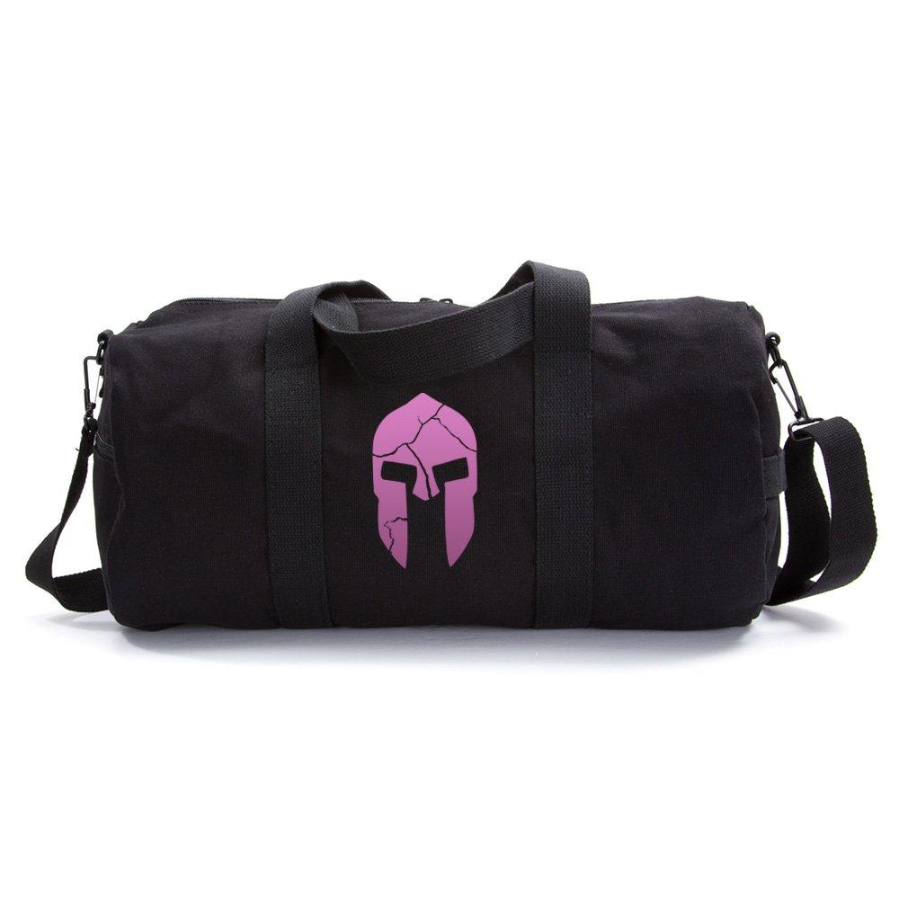 Army Heavyweight Canvas Duffel Bag Cracked Warrior Helmet, Large Black & Pink