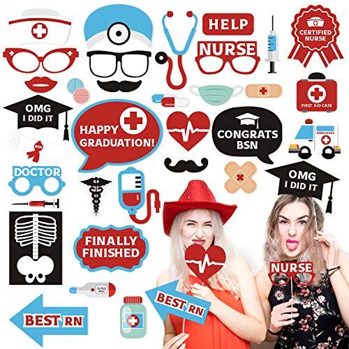 34 PCS Nurse Graduation Photo Booth Props RN Medical Doctor Theme 2019 Nursing School Graduation Centerpieces Supplies