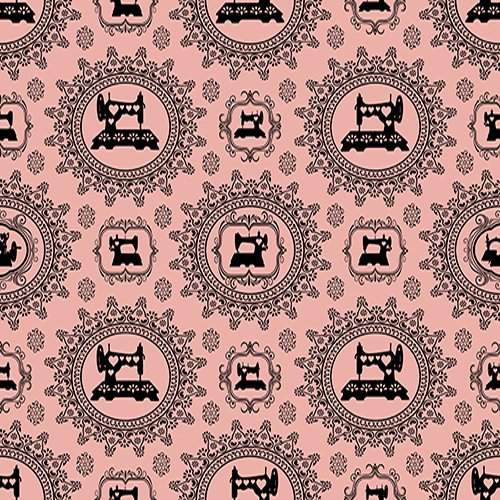 - Quilting Treasures Thimble Pleasures Sewing Damask Pink Fabric by The Yard