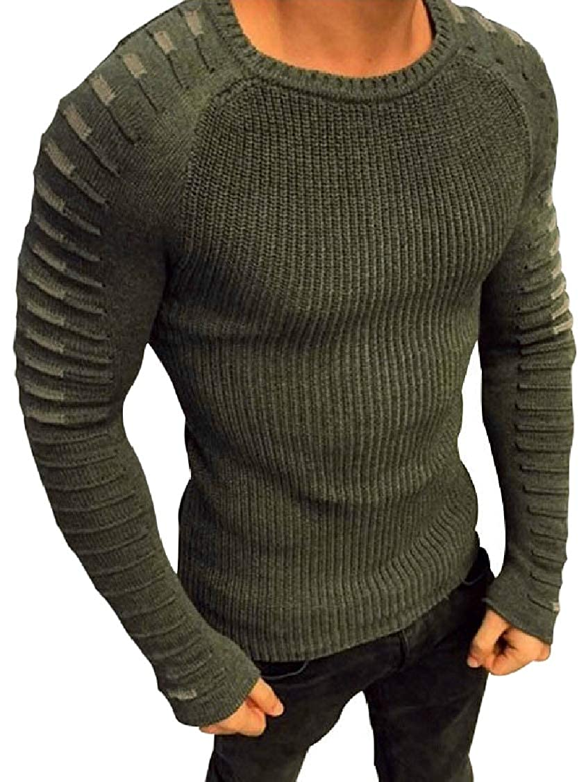 Hajotrawa Mens Casual Long Sleeve Pullover Sweater Rib-Knit Crewneck T-Shirt Top