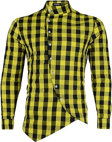 HEETEY Camisa de manga larga con diseño de cuadros para ...