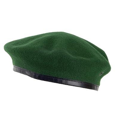 e3c8f152b7ad7 Village Hats Boina militar francesa de lana Merino de Laulhère - Verde   Amazon.es  Ropa y accesorios