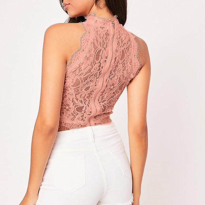 Amazon.com: iOPQO 2018 - Blusa de encaje para mujer, sin ...