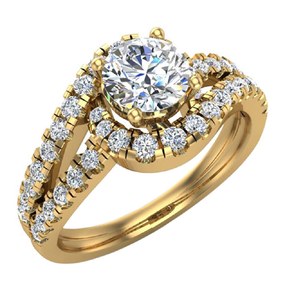 Ocean Wave Diamond Engagement Ring 1.25 carat total weight 14K Yellow Gold (Ring Size 7.5) Certified by Glitz Design