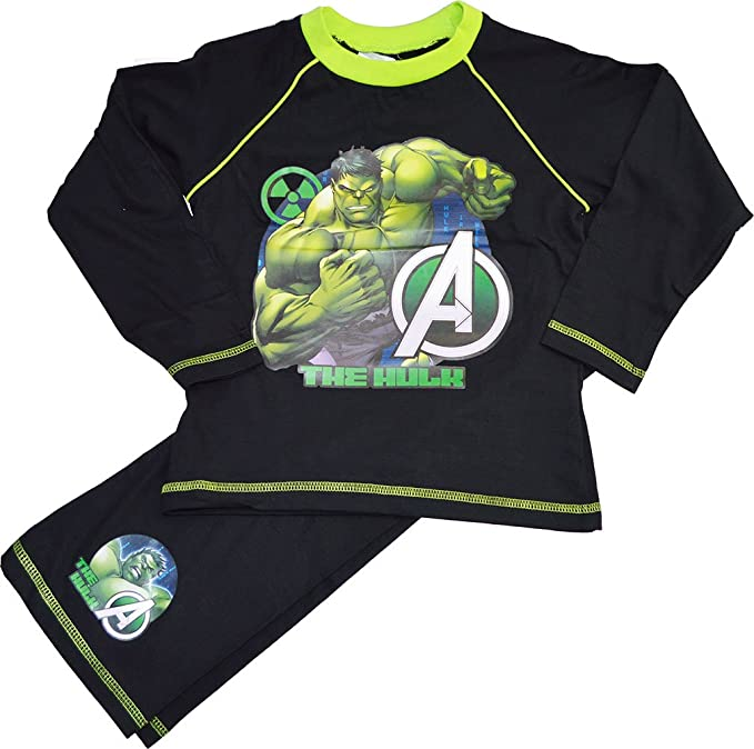 Niños Marvel de Los Vengadores The Hulk larga Juego de pijama 100% algodón negro negro