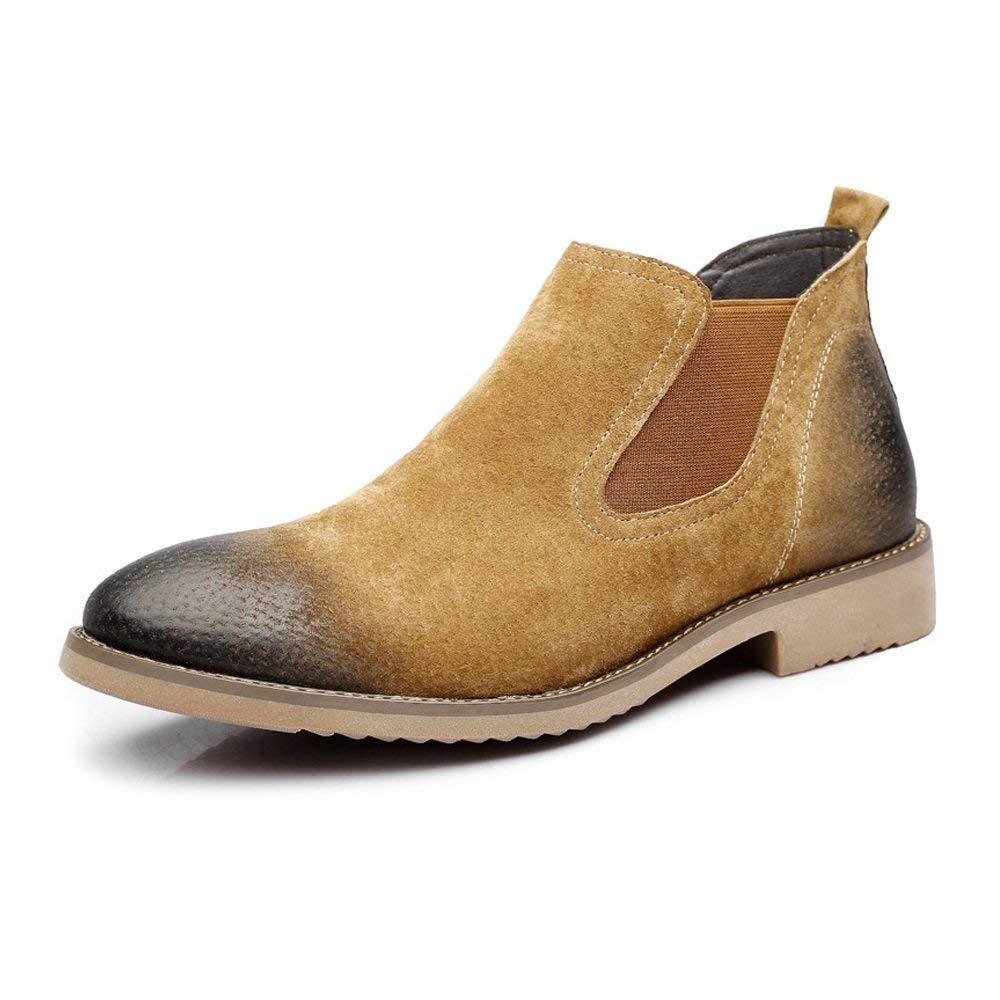 HhGold Männer Casual Slip-On Schuhe Dual Flexible Plate Echtes Leder Low Top Sohle Stiefel (Farbe   Schwarz, Größe   41 EU) (Farbe   Braun, Größe   43 EU)
