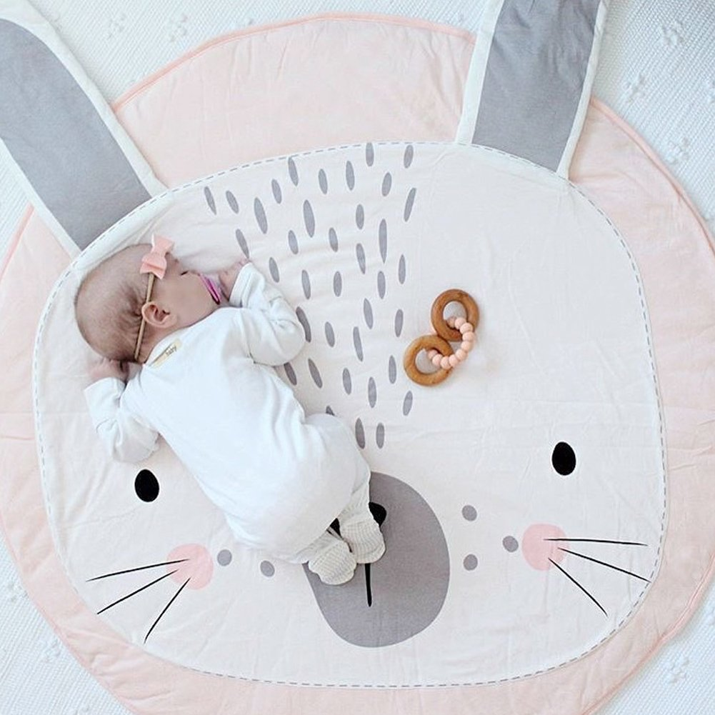 Lzttyee Cotton Baby Crawling Mats Game Blanket Floor Playmats Round Carpet with Cute Bunny Shape Kids' Room Decor (Pink)