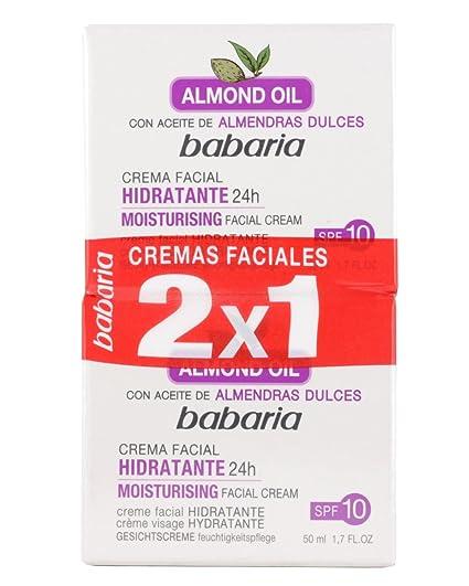 Babaria Aceite Almendras Dulces Crema Facial Hidratante - 2 Unidades ... 721ba4b19cb