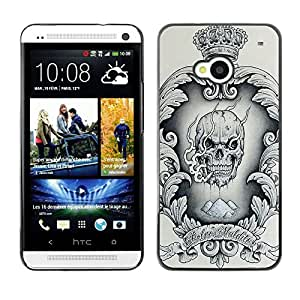 Ihec Tech Skull Crown King Guirnalda del corazón de la vendimia / Funda Case back Cover guard / for HTC One M7