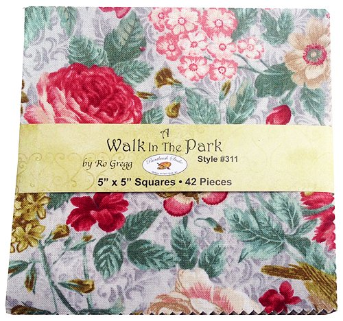Ro Gregg A WALK IN THE PARK Precut 5-inch Charm Pack Cotton Fabric Quilting Squares Assortment Fabri-Quilt