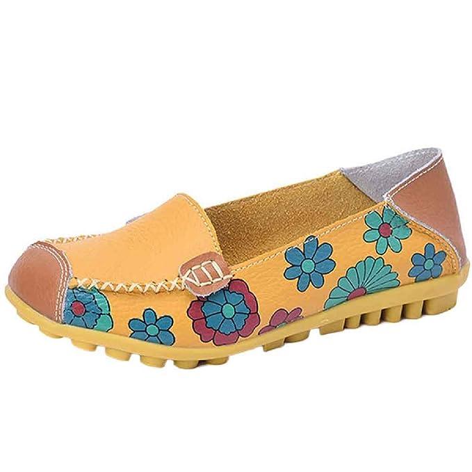 Sandalias De Las Mujeres, Linlink Nuevas Mujeres Zapatos De Cuero Mocasines Soft Leisure Flats Fondo Femenino Casual Zapatos De Guisantes Salvajes: ...