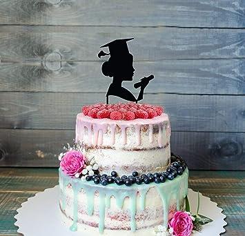 Customizable Graduation Cake Topper Glitter Silver Graduation Cake