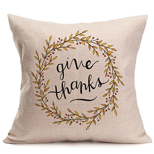 iYBUIA Linen Happy Fall Thanksgiving Day Soft Pillow Case Cushion Cover Home Decor]()