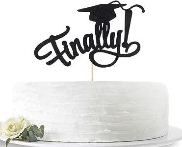 Black Glitter Finally 2019 Graduation Cake Topper-Congrats Grad Party Decorations Supplies-High School Graduation, College Graduate Cake Topper