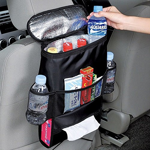 i.VALUX Collapsible Car Seat Back Bag/Organizer, Multi-Pocket, Car Pockets for Travel Storage, Ultra Slim Side Pocket Foldable Seat Side Organizer with Tissue Box holder