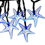 LUCKLED Original Starfish Solar String Lights, 20ft 30 LED Fairy Christmas Lights Halloween Lights Decorative Lighting for Garden, Home, Patio, Party and Holiday Decorations(Blue)