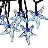 LUCKLED 30 LED Starfish Solar String Lights, 20-Feet, Blue