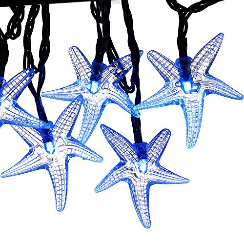 LUCKLED 30 LED Starfish Solar String Lights, 20-Feet, Blue