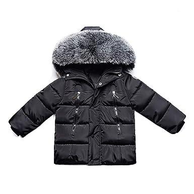 5b1ac8dafd33 Gaorui Kids Boys Hooded Puffer Coat Faux Fur Padded Jackets Thick ...