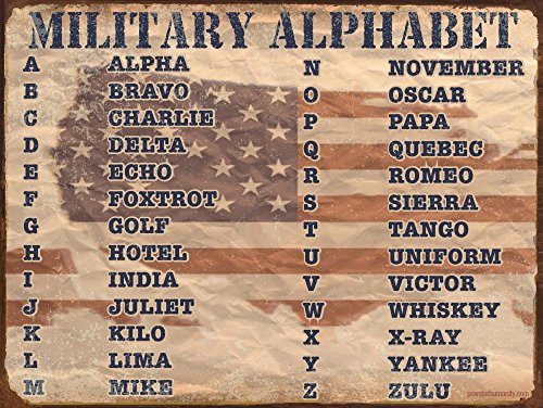 Military Alphabet ~ Metal Sign ~ 9 x 12 inches ~ USA Made ~ Military Terms, Acronyms, NATO Phonetic Alphabet (RK1020HP_9x12)
